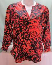 Liz Claiborne Blouse Top V Neck Bust 46 in Long sleeves Red Orange dark blue NWT