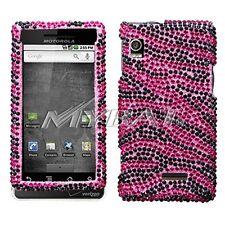 Hot Pink Zebra BLING Case Cover for Motorola Droid A855