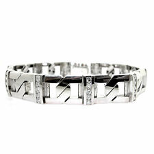 14k White Gold Men's Diamond Bracelet 3.28 CTS- Mens Gold Diamond Bracelet