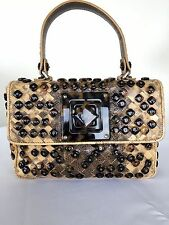 BOTTEGA VENETA BEIGE SNAKE/KARUNG LEATHER TORTOISESHELL HAND BAG LIMITED EDITION