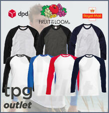 1 or 3 Mens Fruit Of The Loom Long Sleeve Baseball T Shirt TShirt T-Shirt Lot