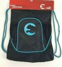 Back to school NWT PUMA Sport Drawstring Backpack Sport Bag Black Blue
