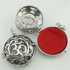 5X/lot Vintage Silver Copper Aromatherapy Om Ohm Pendant Diffuser Yoga Locket