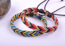 2PCS Surfer Colorful Handmade Hemp Leather Braided Unisex Bracelet Bangle Cuff L