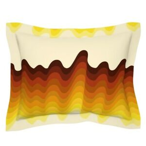Abstract Retro Vintage Waves Flames Lines Pillow Sham by Roostery