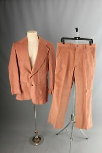 Vintage 1970s Suit Mans Dark Red White Contrast Stitching Leisure Suit Hipster Disco 42 Reg 34 Waist