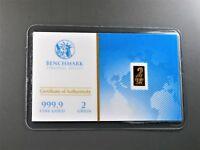 New 1/8 Gram Gold Bar  24K 999.9 Fine Gold Bullion Bar in sealed cert card 31c
