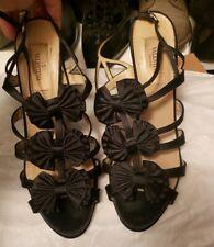 Valentino Black Satin Peep Toe Bow Accented Heel Pump Size 37