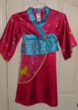 VGUC Disney Store Girls PRINCESS MULAN Asian Kimono Halloween Costume Sz XS 4/5