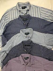 Lot of 5 Mens XL Polo Ralph Lauren Striped Long Sleeve Light Cotton Dress Shirts