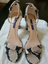 Stuart Weitzman Womens Snake Print. Ankle Strap Heels Size 6.5 .