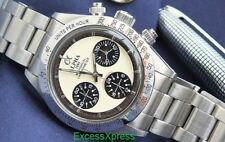 Brand New ALPHA WATCH DAYTONA IVORY DIAL PAUL NEWMAN Chronograph Glossy Bezel