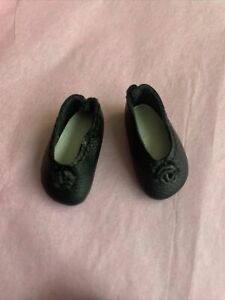 "Tiny Vintage 1"" Leather Handmade Doll Shoes, Black Leather / Rosette"