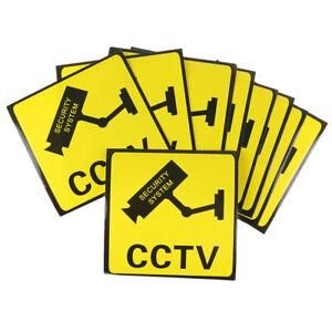 10Pcs CCTV Video Surveillance Security Camera Alarm Sticker Warning SignHFUK