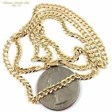 "22"" 14K Yellow Gold CUBAN Link Chain Necklace W25 03 Men & Womans 3.8mm 8.4g"