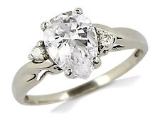 Women's 14k Solid White Gold 3 Stone Simulated Diamond Engagement Ring