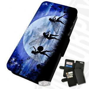 Printed Faux Leather Flip Phone Case For Huawei - Fairy-Moon-Blue