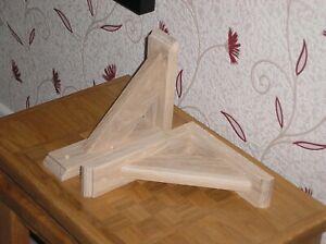 190 x 230 mm Pair Of Solid Wood (Oak) Gallows Wooden Shelf Support Brackets
