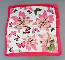 Pink White scarf Satin silky square neck hair headband kerchief flower butterfly