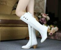 Women's Real Leather Shoe Block High Heel Zip Up Laces Knee High Boots Plus Size