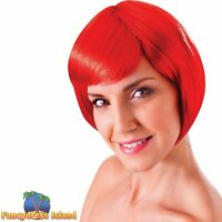 GIRLY GLAMOUR RED FLIRTY FLICK WIG Ladies Womens Fancy Dress Costume