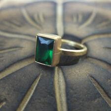 Handmade Designer Baget Emerald Stack Ring 24K Gold Over 925K Sterling Silver