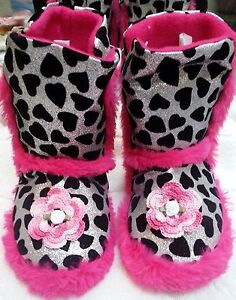 NEW SILVER BLACK PINK FAUX FUR SLIPPERS BOOTS GIRLS SIZE 10 11 4 4T 5 5T TODDLER