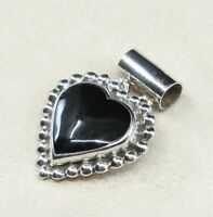 Vtg Sterling Silver Handmade Pendant solid 925 silver w/ Heart Shaped Obsidian