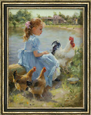 """Original Oil Painting art Impressionis Small Girl and cock on canvas 30""""X40"""""""