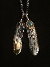 Goro's Chain + Turquoise Feather & Eagle Talon Pendants Necklace Sterling Silver