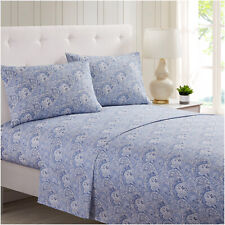 Mellanni Sheet Set Floral Print Deep Pocket Microfiber - Paisley Blue/Gray