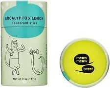 Baking Soda Free Deodorant Stick by Meow Meow Tweet, 3 oz Lemon Eucalyptus