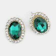 "Clear Oval Rhinestone Stud Post Earrings 3/4"" Long Gold Tone Emerald Green and"