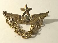Vintage Military Pin ??? Not Sure! Wings Crest Eagle Star Gold Tone 3 chains