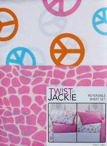 PEACE SIGNS CROCODILE PRINT PINK 3PC TWIN SHEETS  BEDDING SET NEW