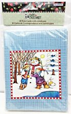 Mary Engelbreit 10 Notecard 2007 Snowman Kids Aqua Blue Check + Envelopes Nos