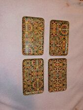 Set 4 Vintage Viking Imports Alcohol Proof Paper Mache Tip Trays Made in Japan