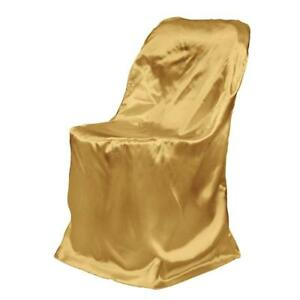 Satin Folding Chair Cover Gold