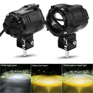 2X 40W White&Yellow Round LED Work Light Spot 4WD Boat Offroad Driving Fog Lamp