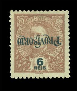 """Portuguese INDIA 1902 K.Carlos """"PROVISORIO"""" 6r brwn Sc# 239a INVERTED ovpt. RARE"""