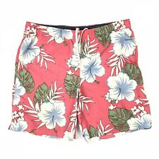 Lands' End Board Shorts Swim Trunks L 36 / 38 Tropical Pink Hibiscus Floral