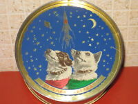 1961 USSR Russian Soviet Space Dogs Laika Belka Strelka Rocket Tin Box Can RARE