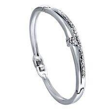 *UK* Silver Ladies rhinestone 2 row diamante Crystal bracelet bangle GIFT