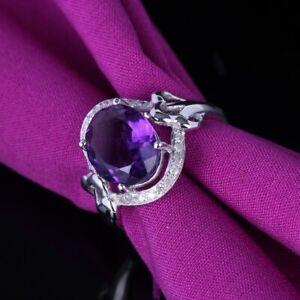 Fine Jewelry 12X9mm Oval Amethyst Real SI/H Diamond Gemstone Ring 10k White Gold