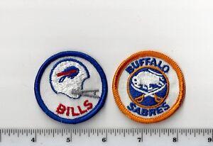 Set of 2 Vintage 1970s NFL Buffalo Bills NHL Sabres 2 Inch Round PATCH (sew on)_