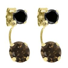 2.14 Ct Round Brown Smoky Quartz Black Diamond 14k Yellow Gold Earrings