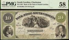1861 $10 DOLLAR SOUTH CAROLINA BANK NOTE LARGE CURRENCY PAPER MONEY PMG 58