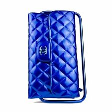 Chanel Lackleder Blau Rahmen Runway Clutch