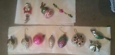 Vintage Christmas Mercury Glass Ornament Pine Cones Bird Santa Star Lot of 11