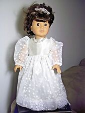 """18"""" doll clothes fit american girl, white glitter snowflake dress set"""